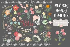 Vector retro flower elements