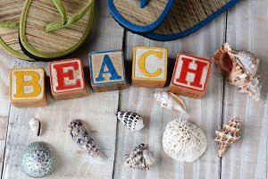 Childrens Blocks Spelling Out Beach