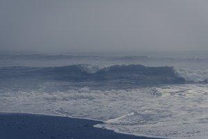 Waves on Black Sand Beach (Vintage)