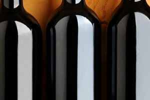 Closeup of Red Wine Bottles