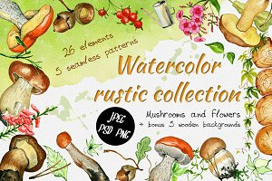 Watercolor rustic set with Mushrooms