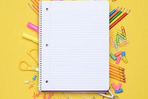 Spiral Notebook on School Supplies