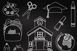Chalkboard School Clipart & Vectors