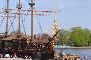 frigate near Peter and Paul cathedral in Saint-Petersburg Russia
