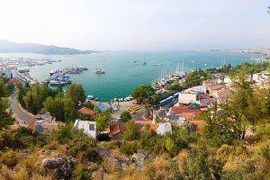 panoramic view of a sea resort city, Fethiye, Turkey