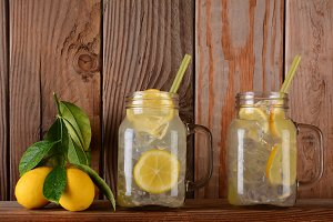 Lemonade Glasses on Shelf with Lemon