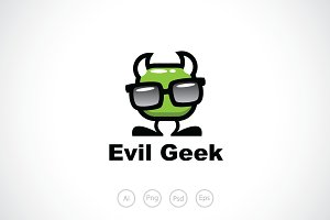 Evil Devil Geek Logo Template
