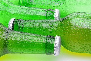 Closeup of Green Beer Bottles