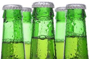 Five Green Beer Bottles