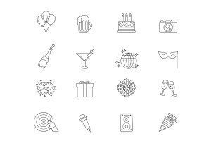 Celebration linear icons