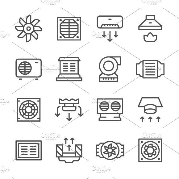 Set line icons of ventilation ~ Icons ~ Creative Market