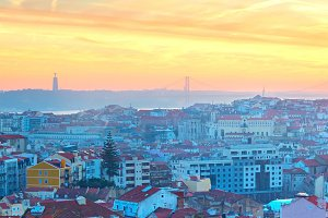 Lisbon panorama at sunset, Portugal
