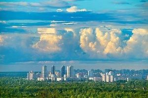 City skyline with georgeous sky