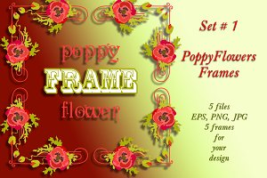 Poppy Flowers Frames Set # 1