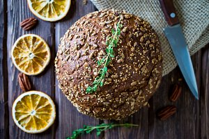 freshly baked multigrain bread