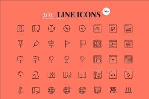 201 line icons (2 pixels)