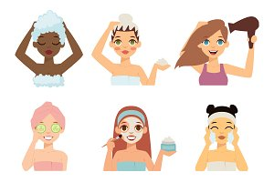 Beauty procedures vector set