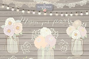 Hand draw Mason Jar Wedding clipart