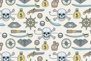 Hand drawn pirates pattern