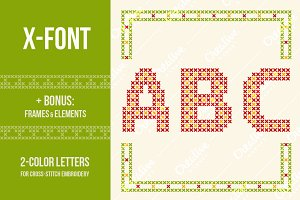 Cross-stitch letters (alphabet, ABC)