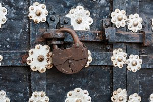 rusty iron padlock