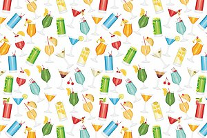 Cocktails seamless pattern