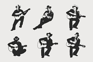 Guitarists in silhouette