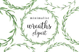 Minimalist watercolor wreaths