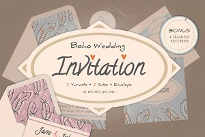 Boho wedding invitation & envelope 2