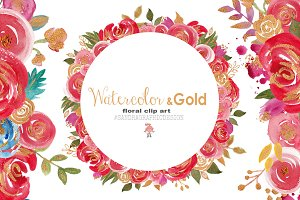Watercolor and gold floral clip art
