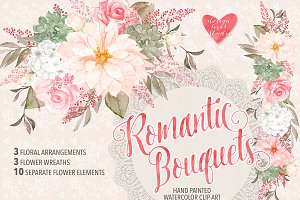 Watercolor romantic bouquets