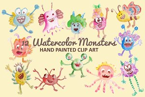 Watercolor Monsters Clip Art