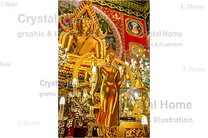 Large and small golden Buddha statue