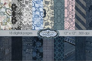 Denim & Lace Mega Digital Paper 18