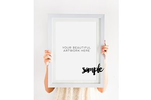 White Frame Mock Up Styled Photos