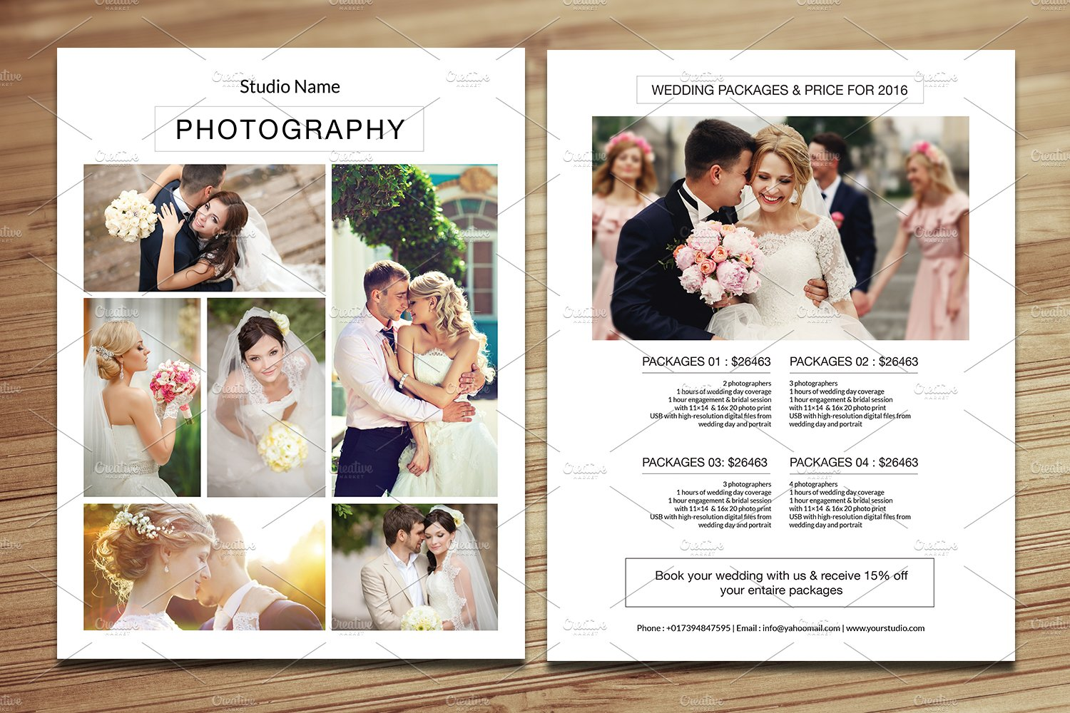 Wedding Photography Price ListV275 Flyer Templates on Creative – Wedding Price List