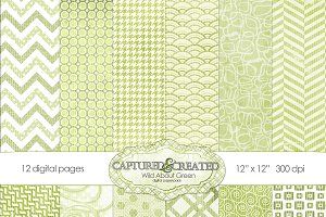 Wild About Green Digital Paper 12
