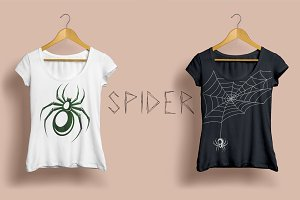 Spider with web vector clipart set