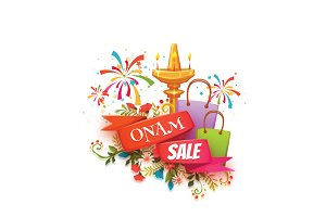 Onam sale banner with ribbon