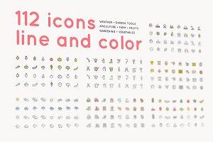112 icons /farm/gardening/apiculture