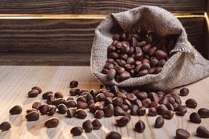 Nuts of cedar in the bag.