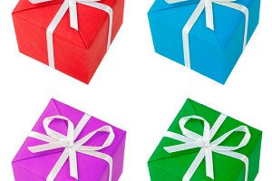 four colored gift boxes