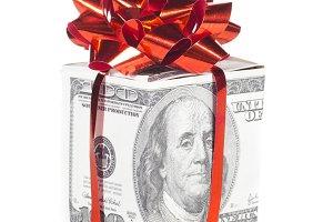 gift box made of dollars