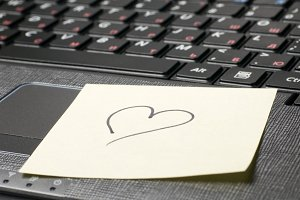 heart on laptop