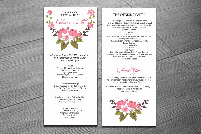 Wedding Ceremony Program Template Invitation Templates