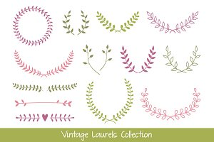 Vintage Laurel Branches and Wreaths