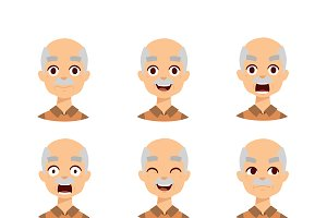 Old man emotions vector icons