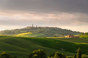 sunset view of Pienza