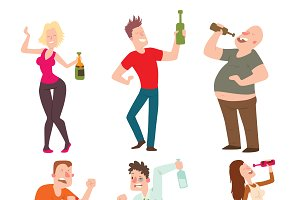 Drunk people vector illustration