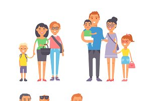 Family people vector set